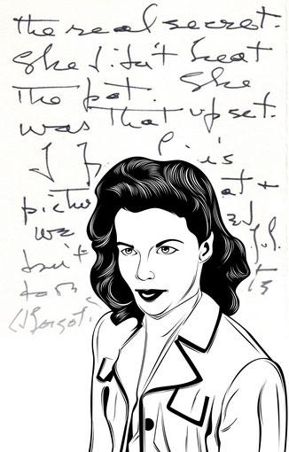 Handtasche mit Schriftstück von Kathrine Hepburn