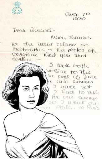 Luxury handbag with handwritten letter by Grace Kelly
