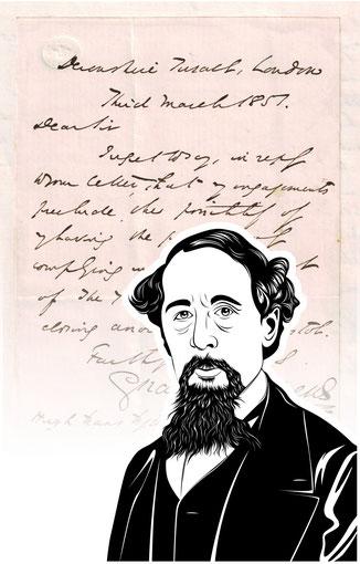Handtasche mit Schriftstück von Charles Dickens