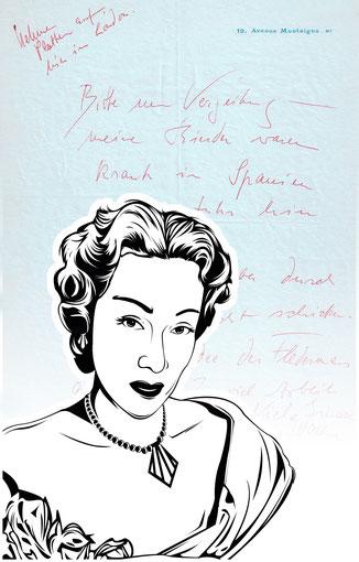 Handtasche mit Schriftstück von Marlene Dietrich