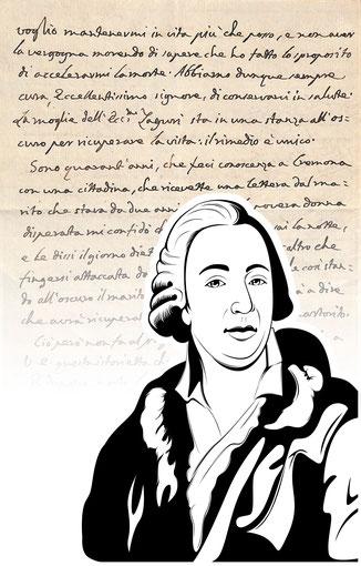 Handtasche mit Schriftstück von Giacomo Casanova