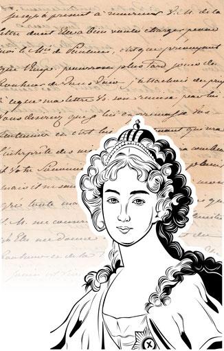 Handtasche mit Schriftstück von Elisabeth Alexejewna (Russische Zarin)
