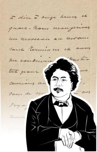 Handtasche mit Schriftstück von Alexandre Dumas d.J.