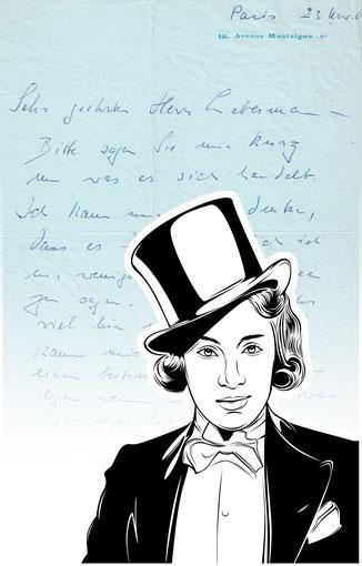 Luxury handbag with handwritten letter by Marlene Dietrich