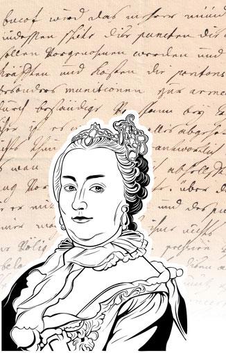 Handtasche mit Schriftstück von Kaiserin Maria Theresia