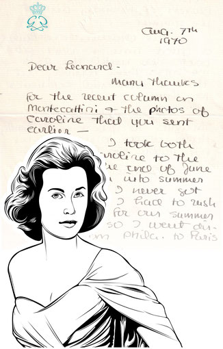 Handtasche mit Schriftstück von Grace Kelly
