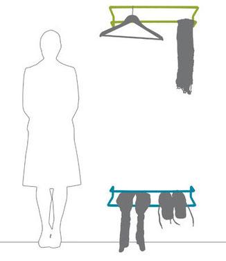 funktionale Wandgarderobe für Jacken und Schuhe, Design Ariane März, Berliner Wohnungsbaugesellschaft Berlin Mitte