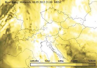 ZAMG - aktuelle Bewölkung über Österreich - bitte anklicken