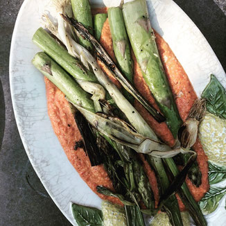 grilled veggies with romesco sauce