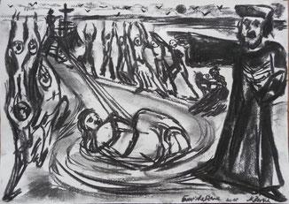 Fanatische Szene Kohle/ Papier 21x35