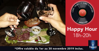 Privilège iNeed : Happy Hour de 18 à 20h.