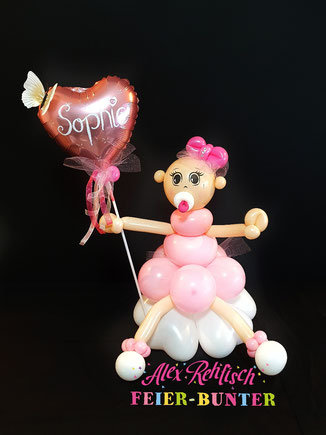 G 022 - Ballon - Püppi mit Herz liebevoll gefertigte Ballonfigur aus hochwertigen Latexballons mit Tüll und Bändern und  einem Folienballon ca. 60cm hoch - 27,50€