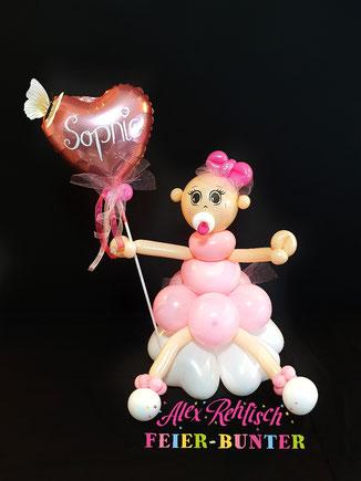 G 022 - Ballon - Püppi mit Herz liebevoll gefertigte Ballonfigur aus hochwertigen Latexballons mit Tüll und Bändern und  einem Folienballon ca. 60cm hoch - 27,90€