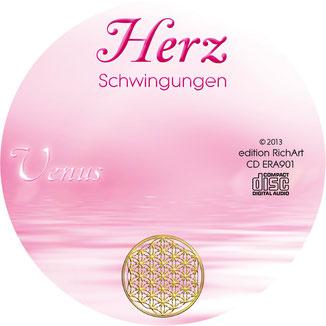 Herzschwingungen Venus CD-Label mit der Blume des Lebens