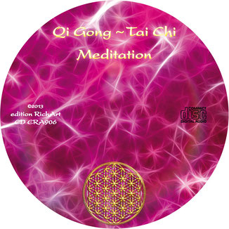 Qi Gong ~ Tai Chi ~ Meditation ~ CD-Label in rot/rosa/pink. Mit der Blume des Lebens