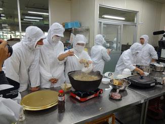倉吉農業高校でのぼたん鍋試食会