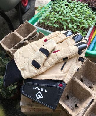 Endlich gibt es den schönen Bionic-Lederhandschuh auch ohne Stulpen. Sieht ein wenig futuristisch aus - ist aber funktional der beste Lederhandschuh für die Gartenarbeit. www.the-golden-rabbit.de