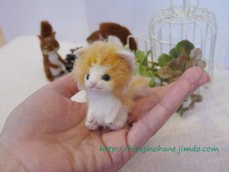 羊毛フェルト:手乗り猫 長毛レッドダビーlong fur cat