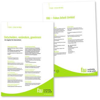 Flyer Angebot für Firmen Publikation FAU – Fokus Arbeit Umfeld
