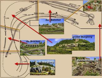 Lageplan der Anlagenbereiche im sichtbaren  Layout
