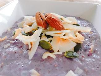 blueberries; haver; glutenvrij; kokosmelk; kokosrasp; blauwe bes