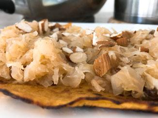 Perenzuurool op een zoete aardappelwrap (YUMM!)