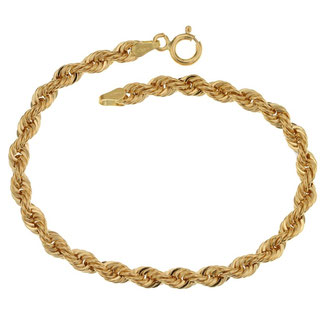 Bracciale donna in oro giallo 18 kt maglia a fune grammi 4,40