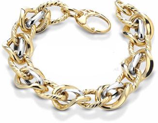 bracciali donna catena maglie grandi Oro Giallo e bianco 18kt Con maglie lucide e ritorte BR974BC