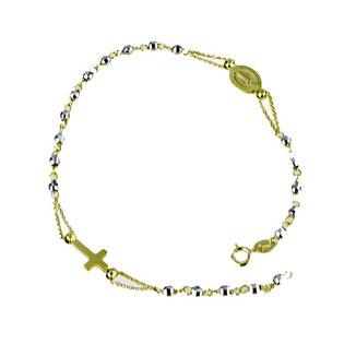 Bracciale Rosario in oro bicolore con Madonna Miracolosa