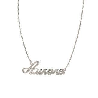 Collana con nome in oro bianco 18kt con zirconi
