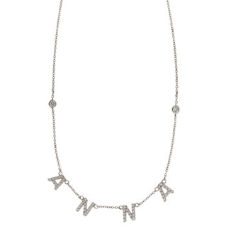 Collana con lettere pendenti e brillantini in oro bianco18kt