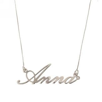 Collana con nome personalizzato in oro bianco 18kt