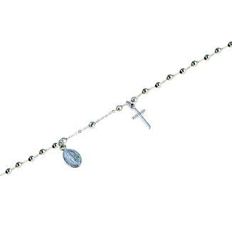 Bracciali Rosario in oro bianco con Madonna Miracolosa prezzi
