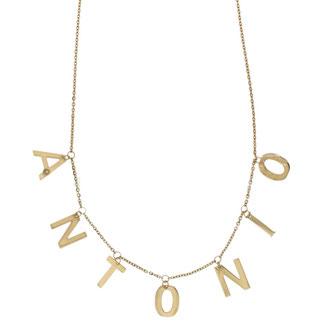 Collana con lettere pendenti e brillantini in oro giallo 18kt