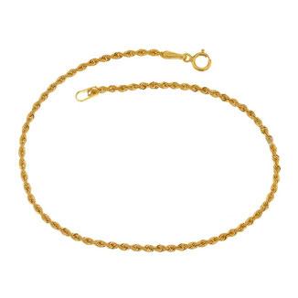 Bracciale donna in oro giallo 18 kt maglia a fune laser