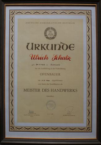 Meisterbrief Ulrich Schatz