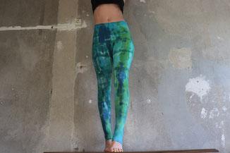 Grün blaue Festival Leggings Tie dye