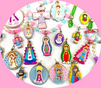 Pulseras y Collares Religiosos con medallas de la virgen, santos, angeles y mucho mas