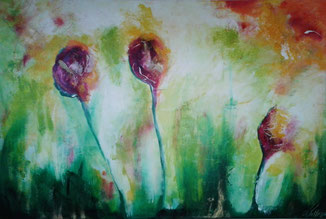 """""""3 Tulpen"""" - Acryl auf Leinwand 40x60"""