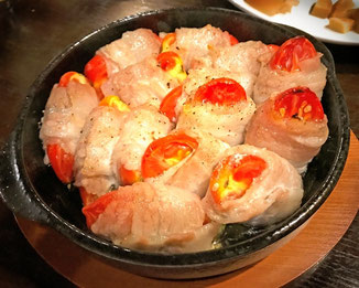 三宅サンマルツァーノ 美味なる料理 豚肉巻き リターノ 三宅トマト