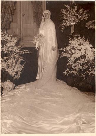 Bertha-Joaquina Jiménez Durand el día de su boda.
