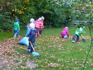 Der Spiel-Rasen in der Kita soll von Blättern befreit werden!