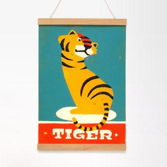 Kunst für Kinder, Holzschnitt Tiger, Kinderzimmerbild