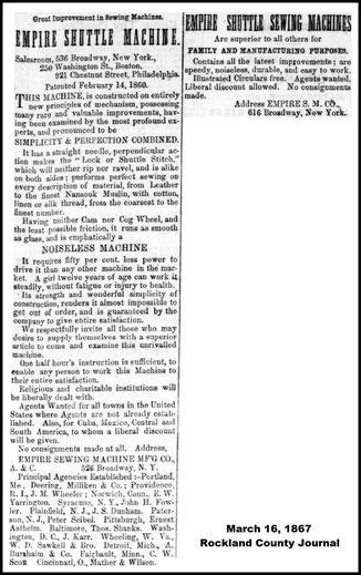 March 1867 - 536 & 616 Broadway N.Y.