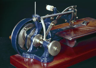 Early lock-stitch sewing machine made in accordance with W.F. Thomas's patent of 1853