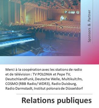 """Sponsors et supporters du 28th Rock & ChansonFestival """"Köln-Breslau-Paris"""" 2021 à Cologne Porz, organisé par Polonica e.V."""