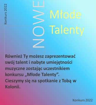 """Informacja o konkursie śpiewu """"Młode Talenty"""" 28 Rock & ChansonFestival """"Köln-Breslau-Paris"""" 2021 w Kolonii, organizowanych przez Polonica e.V."""
