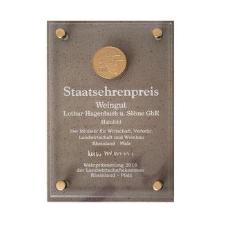 Staatsehrenpreis Weingut Hagenbuch 2016