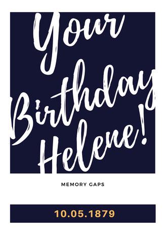"""""""Birthday Memorial Helene Taussig"""", 2021, Plakat, 84 x 59cm; ©: Memory Gaps"""