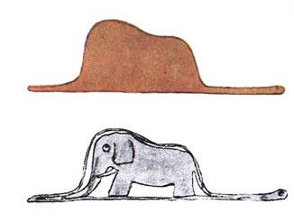 """""""Mi dibujo no representaba un sombrero. Representaba una serpiente boa que digería un elefante. Dibujé entonces el interior de la serpiente boa para que los mayores pudiesen entender""""                 - El Principito -"""